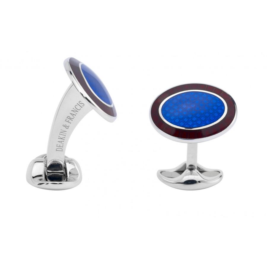 Sterling Silver Maroon Red & Royal Blue Enamel Cufflinks