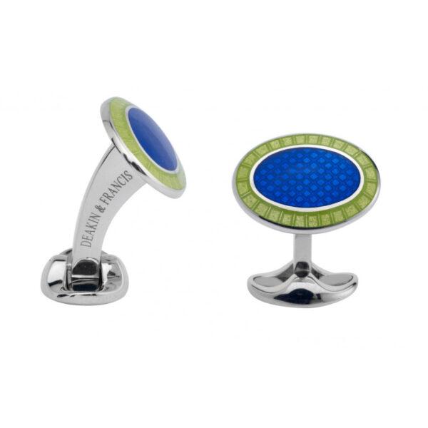 Sterling Silver Lime Green & Nitric Blue Enamel Cufflinks