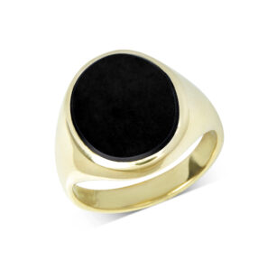 18ct Yellow Gold Onyx Stone Set Signet Ring