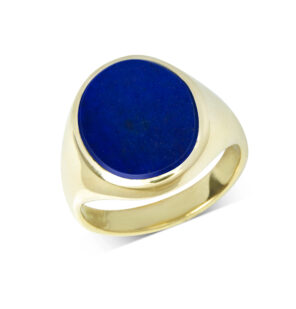 18ct Yellow Gold Lapis Lazuli Stone Set Signet Ring