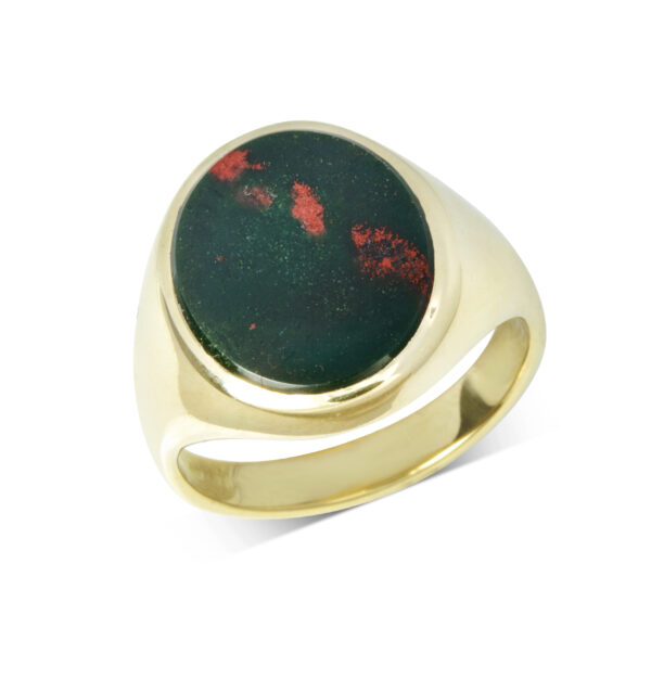 18ct Yellow Gold Bloodstone Stone Set Signet Ring