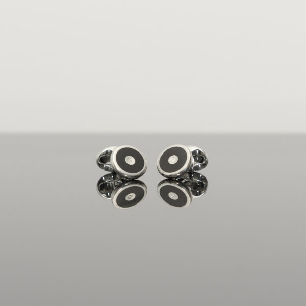 Sterling Silver Round Cufflinks with Onyx and Diamond