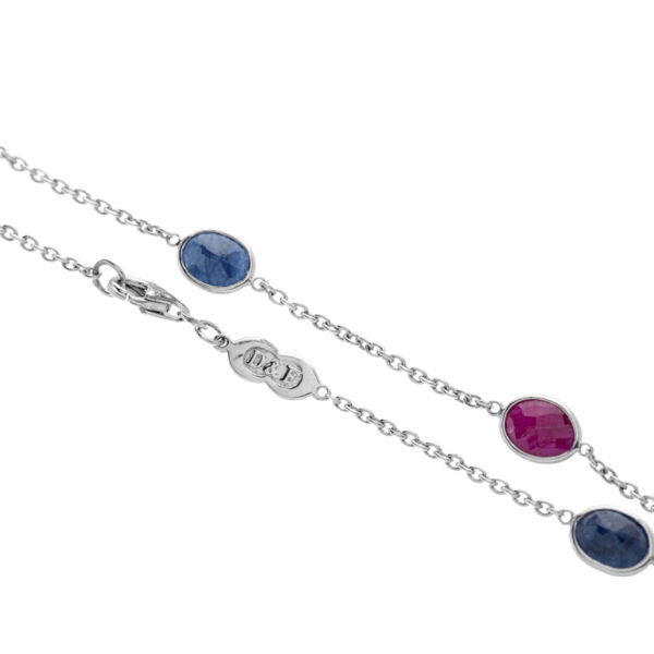 18ct White Gold Sapphire and Ruby Necklace