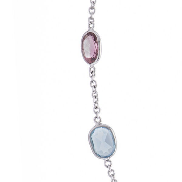 18ct White Gold Pink Tourmaline and Blue Topaz Necklace