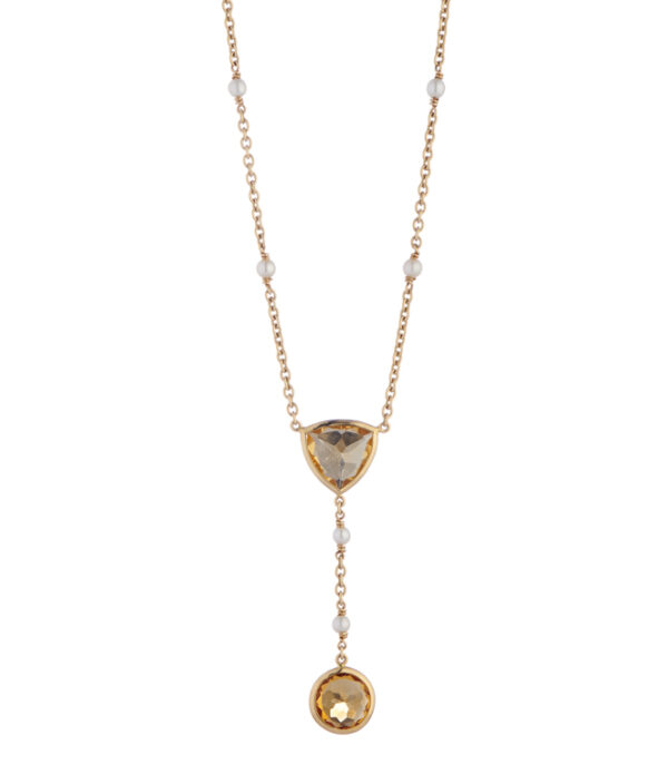 18ct Yellow Gold Citrine and Cultured Pearl Drop Necklace