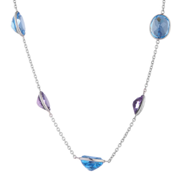 18ct White Gold Blue Topaz and Amethyst Necklace