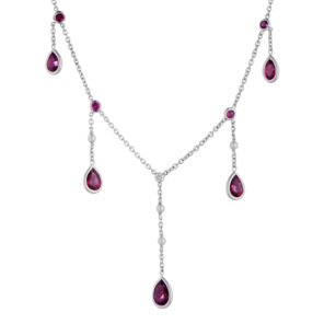 18ct White Gold Rubellite, Cultured Pearl and Diamond Drop Necklace
