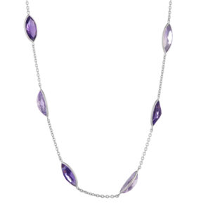 18ct White Gold Light and Dark Amethyst Necklace