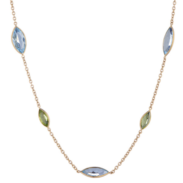 18ct Yellow Gold Blue Topaz And Peridot Spectacle Necklace
