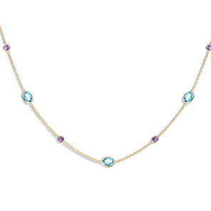 18ct Yellow Gold Amethyst and Blue Topaz Necklace