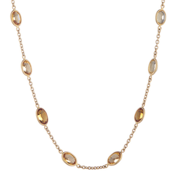18ct Yellow Gold Light and Dark Citrine Necklace