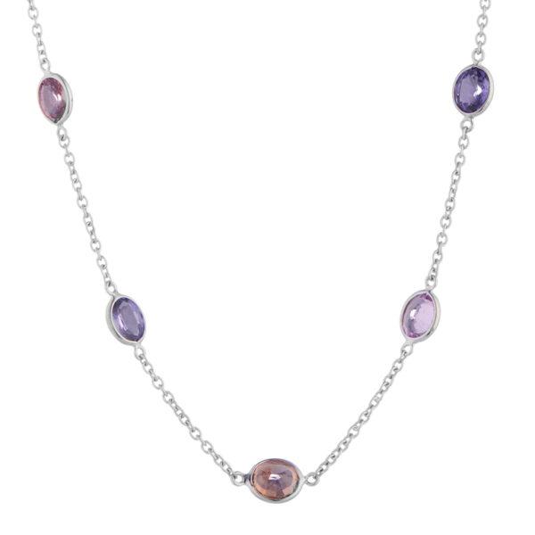 18ct White Gold Fancy Colour Sapphire Necklace