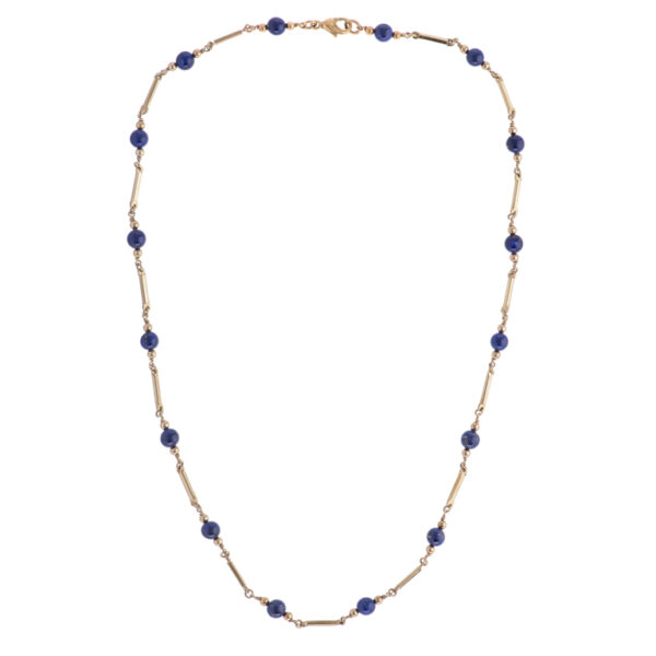9ct Yellow Gold Lapis Lazuli Necklace With Square Bar Links