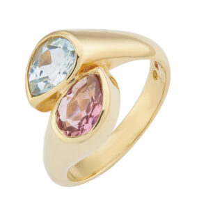 18ct Yellow Gold Blue Topaz And Pink Tourmaline Ring