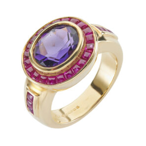 18ct Yellow Gold Oval Shape Amethyst Ring With Ruby Border And Shoulders