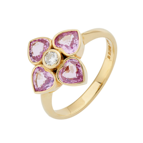 18ct Yellow Gold Pink Sapphire And Diamond Cluster Ring