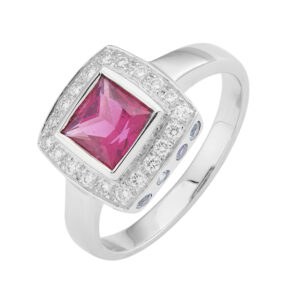 18ct White Gold Rubellite And Diamond Ring with Blue Sapphires