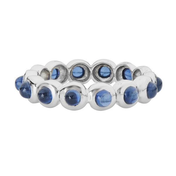 18ct White Gold Cabochon Sapphire Eternity Ring