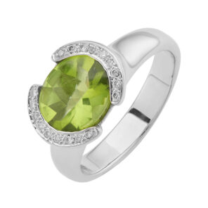 18ct White Gold Peridot Ring With Diamond Detail