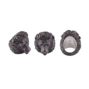 Oxidised Sterling Silver Proud Lion Ring