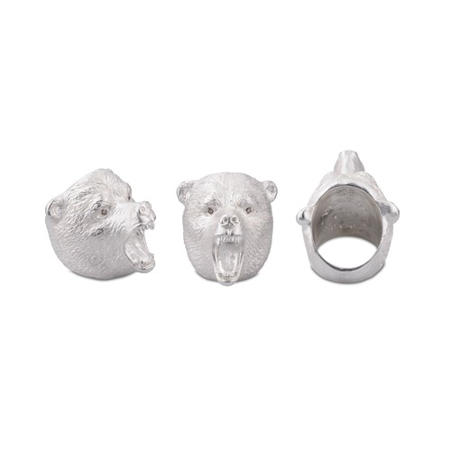 Sterling Silver Brave Bear Ring