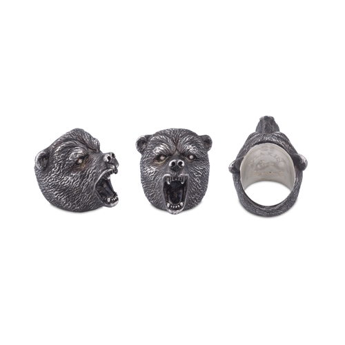 Oxidised Sterling Silver Brave Bear Ring