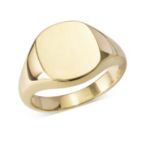 Gold Cushion Signet Ring (12x12mm)