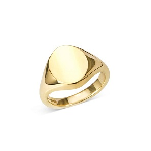 Gold Oval Signet Ring (12x10mm)