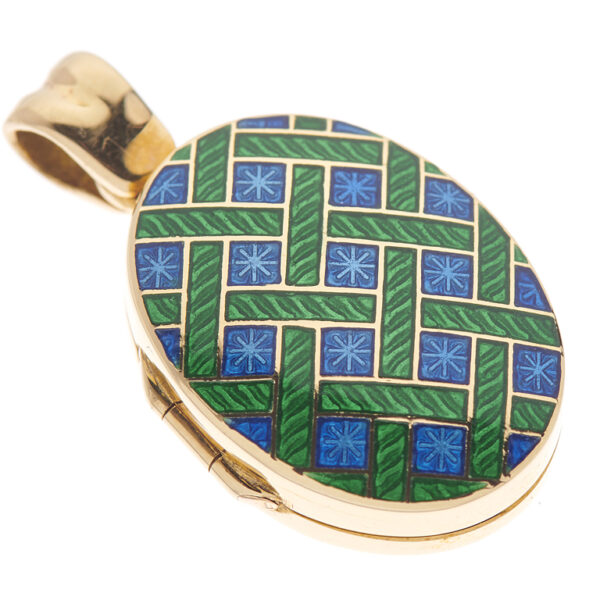 18ct Yellow Gold Royal Blue And Dark Green Enamel Pattern Locket