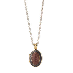 18ct Yellow Gold Dark Pink And Mauve Enamel Locket