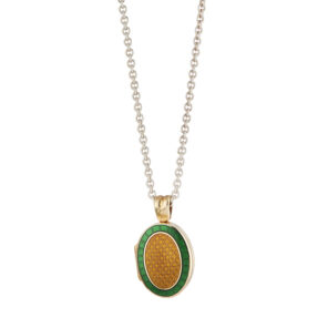 18ct Yellow Gold Dark Green And Brown Enamel Locket