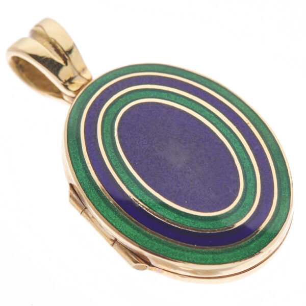 18ct Yellow Gold Navy Blue And Dark Green Enamel Locket