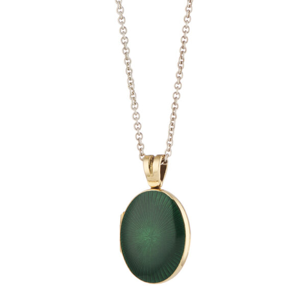 18ct Yellow Gold Dark Green Enamel Locket