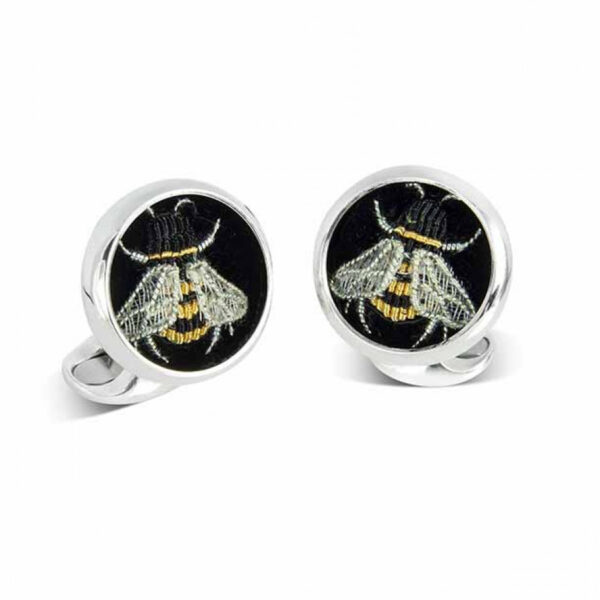 Sterling Silver Embroidered Bee Cufflinks