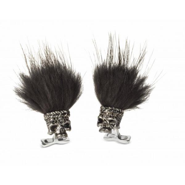 Black Spinel Savage Skull Cufflinks with Black Hair