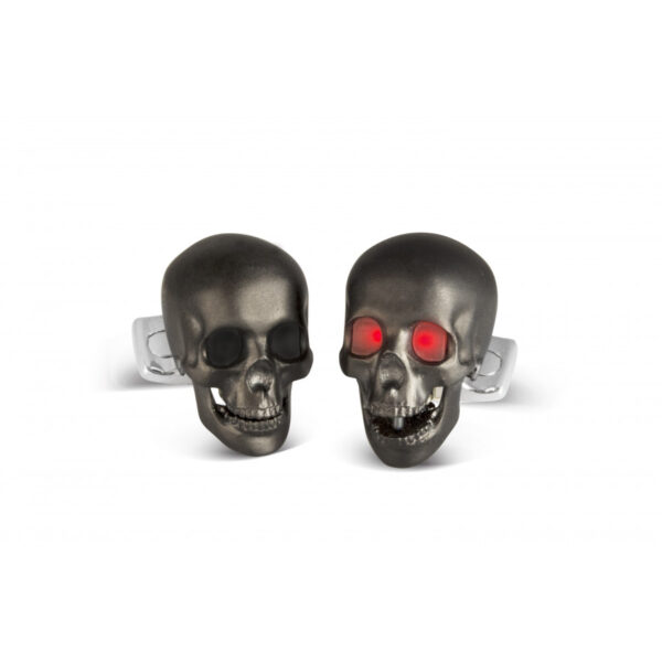 Skull Cufflinks with LED Eyes in Matte Black