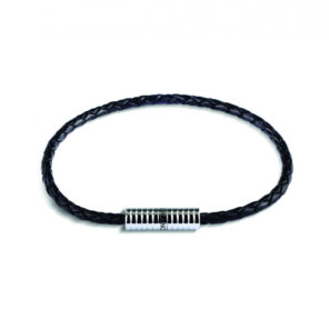 Black Leather Bracelet with Rhodium Plated Clasp