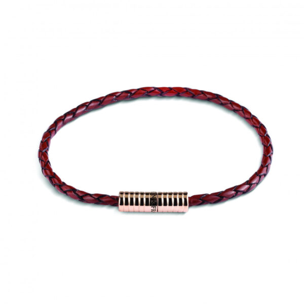 Brown Leather Bracelet with Rose Plated Clasp