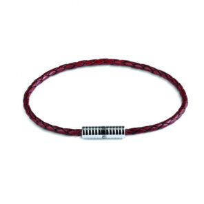 Brown Leather Bracelet with Rhodium Plated Clasp