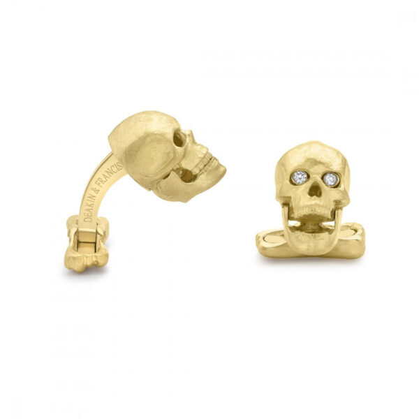 18ct Yellow Gold Skull Cufflinks with Popping Diamond Eyes