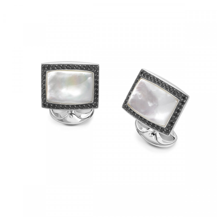 Sterling Silver Black Spinel with Mother-of-Pearl Cufflinks