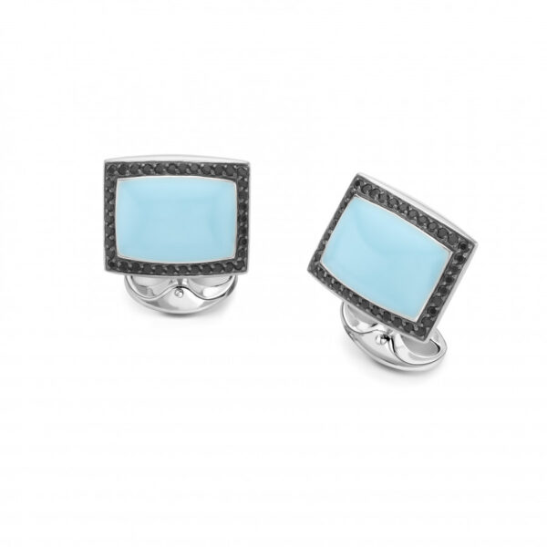 Sterling Silver Turquoise Enamel Cufflinks with Spinel Border