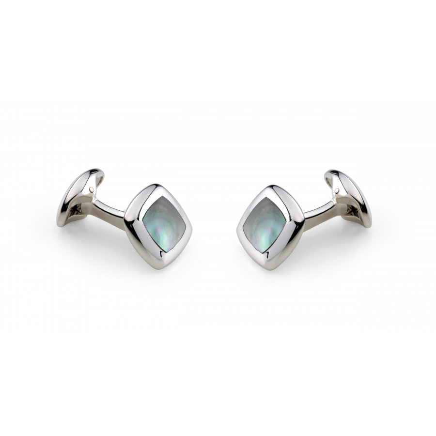 Sterling Silver Cushion Cufflinks with Grey Mother-of-Pearl Inlay