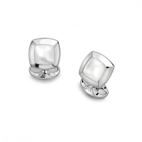 Sterling Silver Cushion Cufflinks with White Mother-of-Pearl Inlay