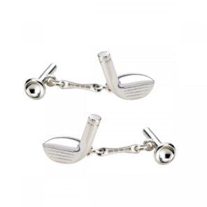 Sterling Silver Golf Club & Tee Cufflinks