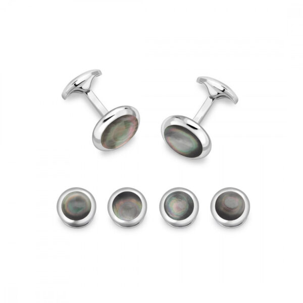 Sterling Silver Oval Cufflinks with Grey Mother-of-Pearl