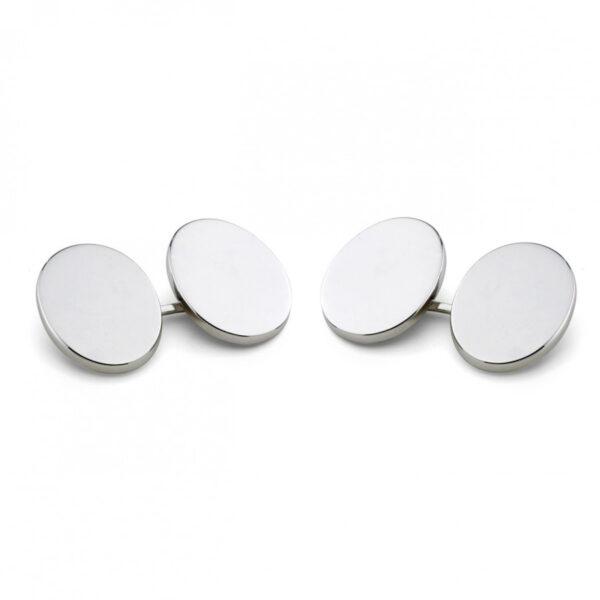 Sterling Silver Plain Oval Linked Cufflinks