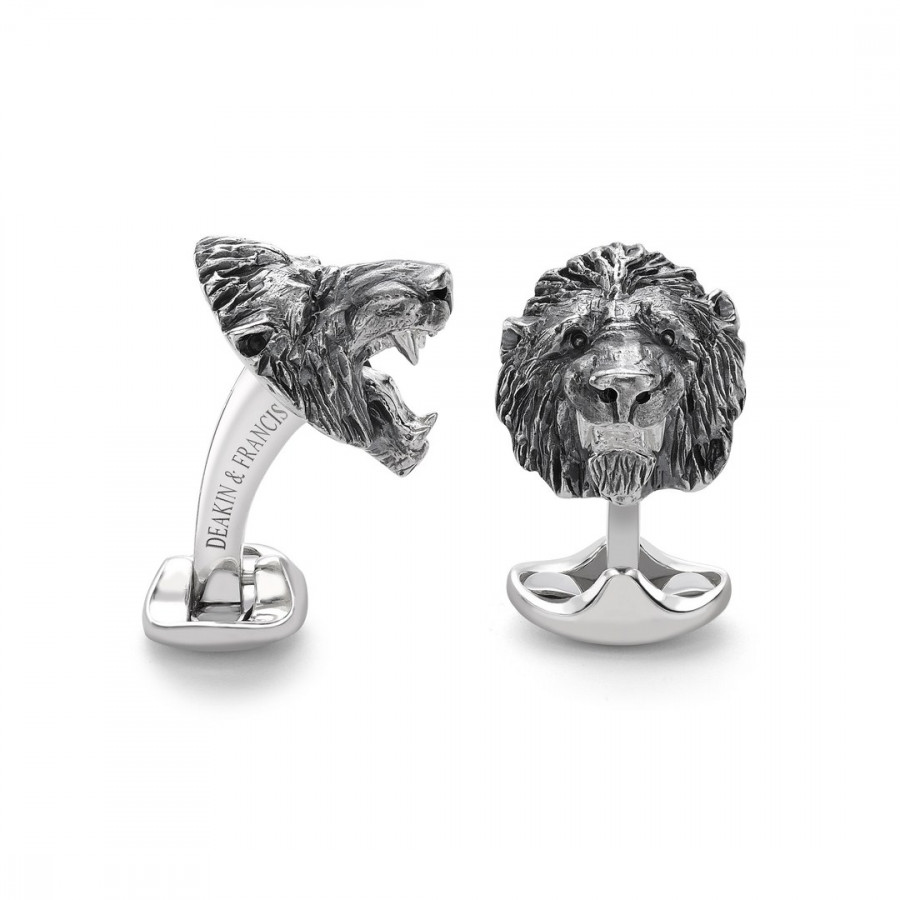 Sterling Silver Oxidised Lion Head Cufflinks