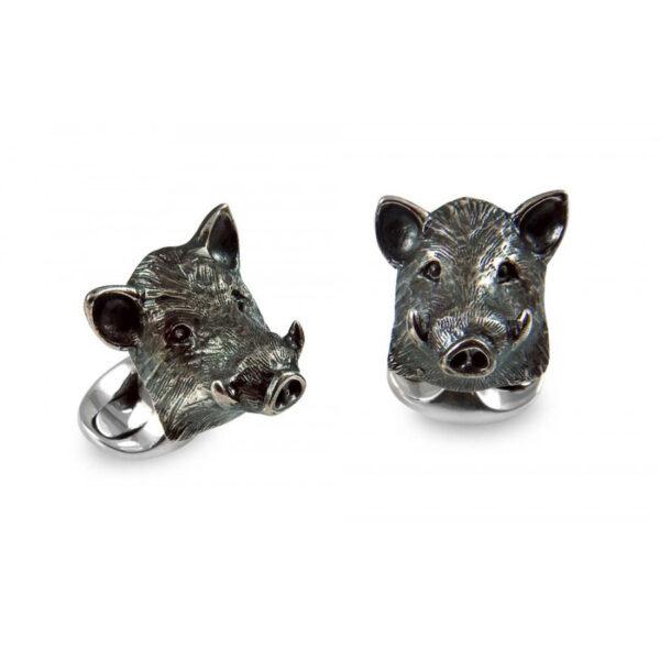 Sterling Silver Boar Cufflinks