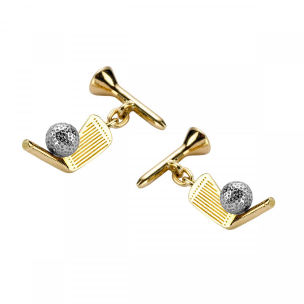 18ct Yellow Gold Golf Club and Tee with Ball Cufflinks